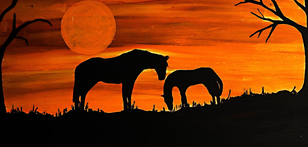 Mare and foal sunset