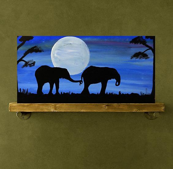 Silhouette elephants