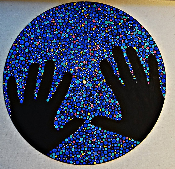 Touching the sky, vinyl record painting