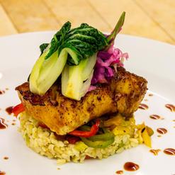 Miso Glazed Black Cod, Soy Ginger Sautéed Vegetables and Bok Choy, Jasmine Rice Pilaf