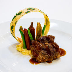 Braised Beef Short Ribs, Sundried Tomato Mashed Potato, French Beans Stem-On Carrots, Herb Lasagna Ring, Heirloom Beets