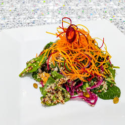 Spinach and Arugula Tossed Salad with Red and White Quinoa, Sweet Pickled Red Cabbage, Roasted Sweet Potato, Pumpkin Seeds and Angel Hair Heirloom Carrots