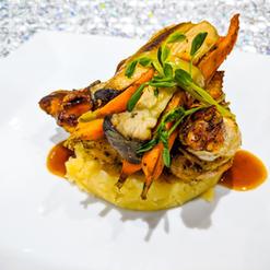 Kalbi Glazed Chicken Supreme with Wasabi Mashed Potato, King Mushroom and Stem On Carrot Bundle, Soy Mirin Jus