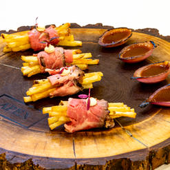 Flank Steak, French Fries, Horseradish Aioli, Red Onion Charred with Gravy