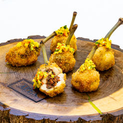 Breaded Pastrami Stuffed Chicken Wing with Mango Salsa