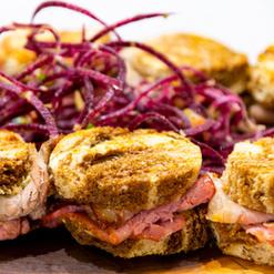 Pastrami, Montreal Smoked Meat Reuben Sandwich with Dijon Aioli