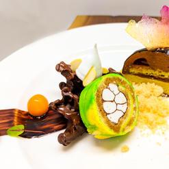 Chocolate Raspberry Dome, Vanilla Crumb, Tiramisu, Isomalt Sugar, Almond Meringue, Mango Coulis, Chocolate Ganache, Sorrel Sprouts