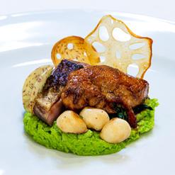 Pea and Wasabi Puree with Hoisin Duck Breasts, Kabayaki Chicken, Beech Mushroom, Fried Taro and Lotus Root Chips, Sautéed Spinach