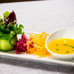 Butternut Squash and Pear Soup, Herb Essence, Mirin Pickled Angel Hair Slaw, Salad Bouquet, Honey Berry Dressing
