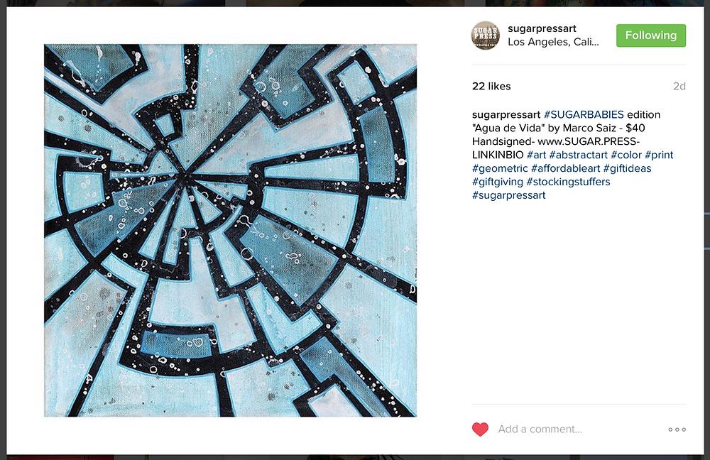 "sugarpressart#SUGARBABIES edition ""Agua de Vida"" by Marco Saiz - $40 Handsigned- www.SUGAR.PRESS- LINKINBIO #art #abstractart #color #print #geometric #affordableart #giftideas #giftgiving #stockingstuffers #sugarpressart"