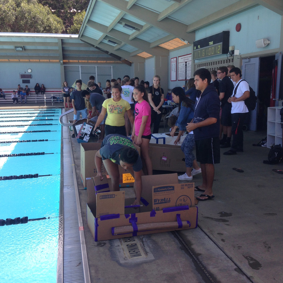 Intro to 3D Art vs. Honors Physics Annual Cardboard Boat Race
