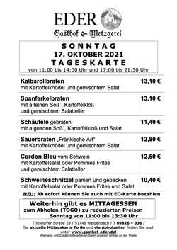 TAGESKARTE_Sonntag_17.Oktober 2021_Gaststätte Biergarten