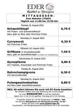 2021_KW_33_Wochenangebot To Go_Gaststätte_