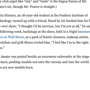 """NY TIMES ARTICLE: """"KEVIN AMATO AND THE BRAVE NEW MENS RUNWAY"""
