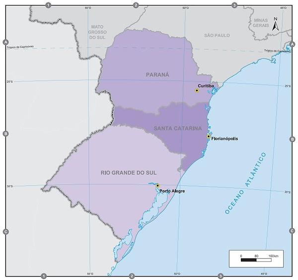 Brezilya Güney Bölgesive Eyaletleri Haritaları