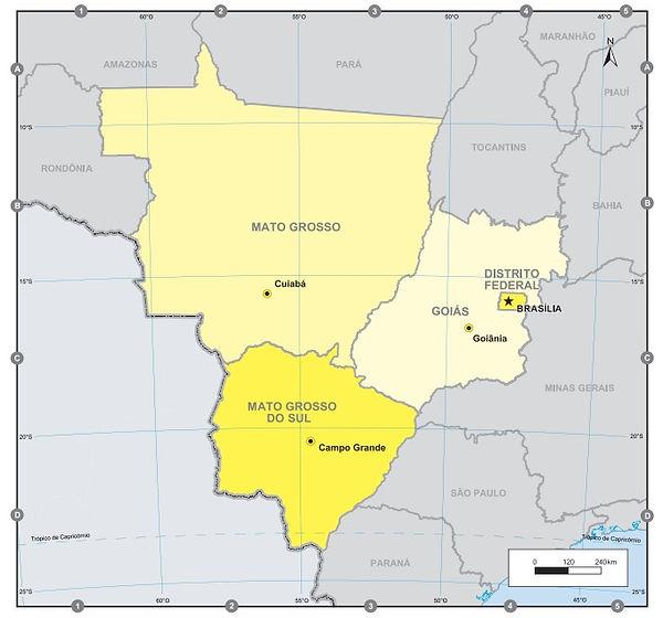 Brezilya Orta Batı Bölgesive Eyaletleri Haritası