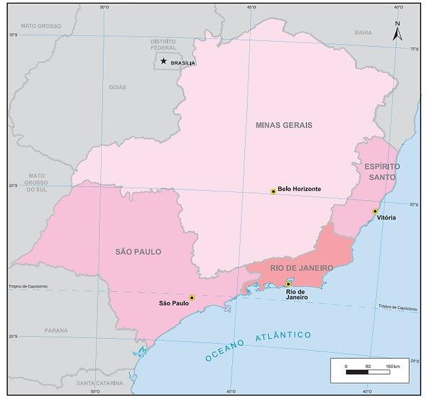 BrezilyaGüneyDoğuBölgesi ve Eyaletleri Haritası
