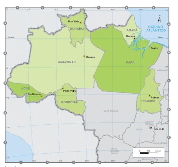 Brezilya kuzey bölgesi ve eyaletleri haritası