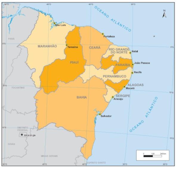 Brezilya Kuzey Doğu Bölgesive Eyaletleri Haritası