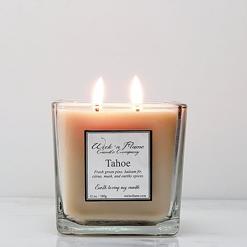 TAHOE: Fresh green pine, citrus, musk, earthy spices and balsam fir.