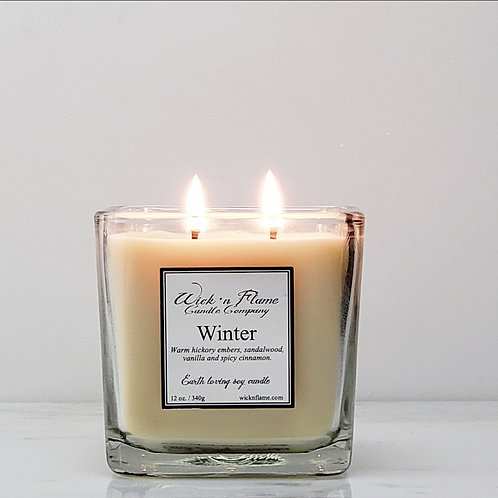 WINTER: Warm hickory embers, sandalwood, vanilla and spicy cinnamon.