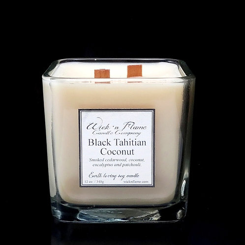 BLACK TAHITIAN COCONUT: Smoked cedarwood, coconut, eucalyptus and patchouli.
