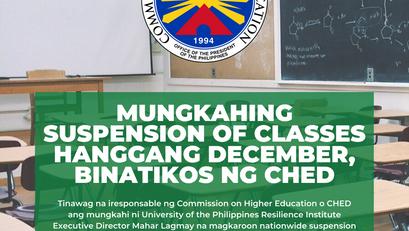 Mungkahing Suspension ng Classes Hanggang December, Binatikos ng CHED