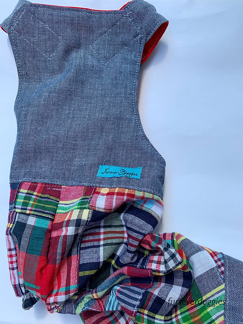 Linen and Plaid Overall