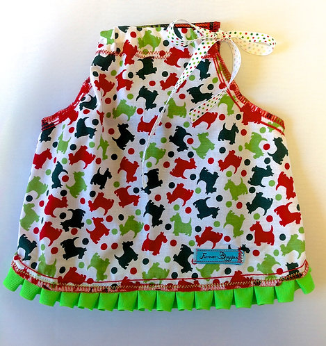 Scotties with Green Ruffles Dress