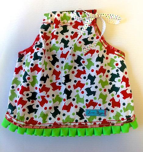 Scotties with Green Ruffles Dress