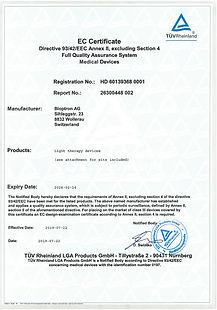 Сертификат системы контроля качества (Директива 93/42/ЕЕС)