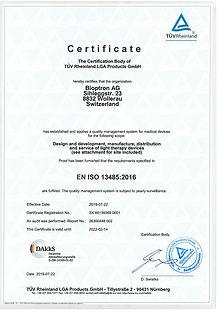 Сертификат качества (EN ISO 13485)