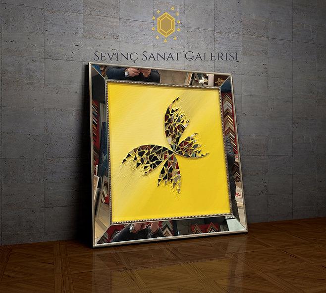 Ayna kabartmalı kelebek tablo sarı geçiş