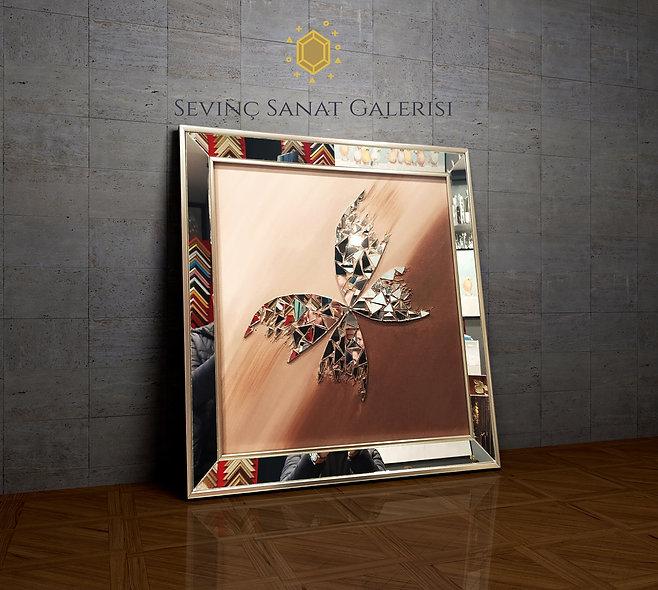 Ayna kabartmalı kelebek tablo kahve geçiş