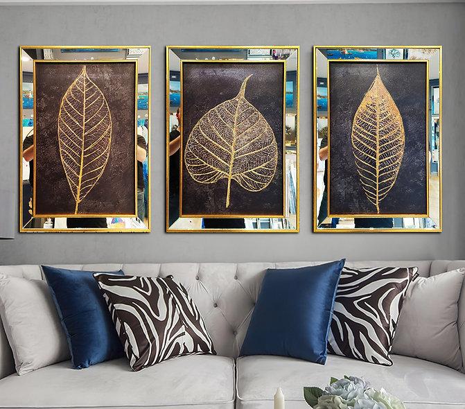 Sim işlemeli Üçlü yaprak altın