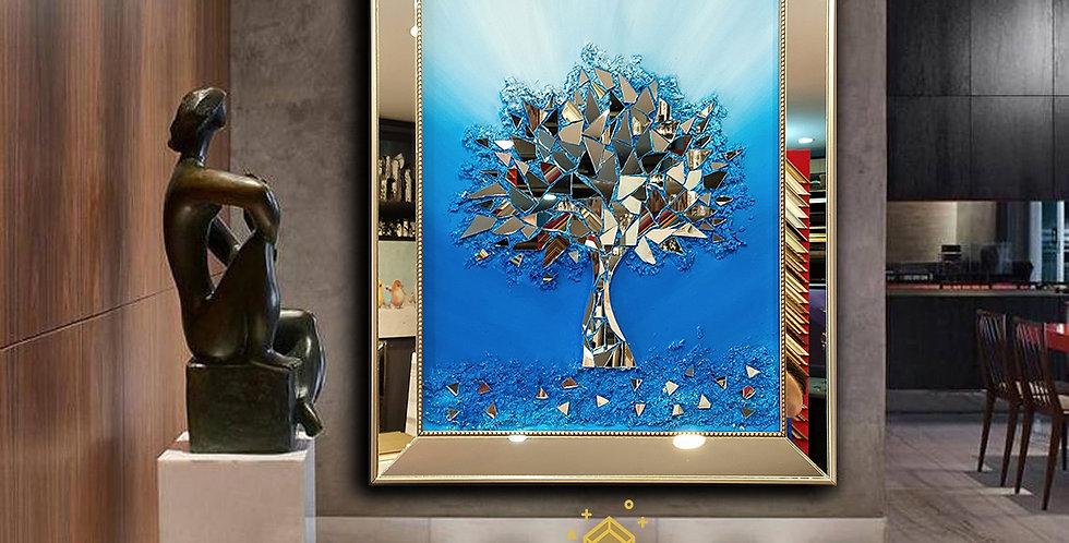 Ayna kabartmalı tablo mavi  geçiş