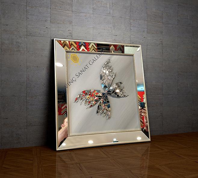 Ayna kabartmalı kelebek tablo antrasit geçiş