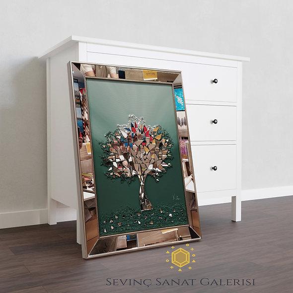 Ayna kabartmalı ağaç tablo yeşil geçiş