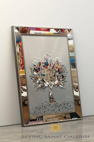 Ayna kabartmalı ağaç tablo gri geçiş