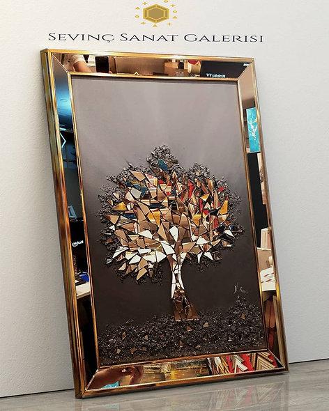 Bronz Ayna kabartmalı ağaç tablo