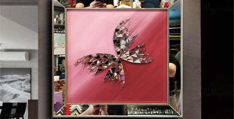 ayna kabartmalı kelebek tablo bordo geçiş
