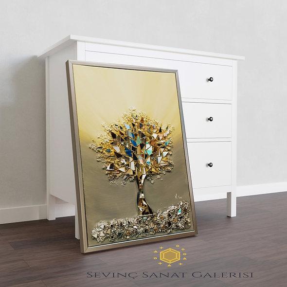 Ayna kabartmalı ağaç tablo sarı geçiş