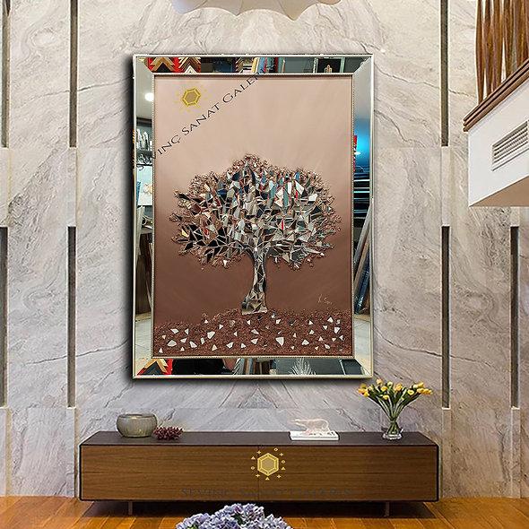 Ayna kabartmalı ağaç tablo kahve geçiş
