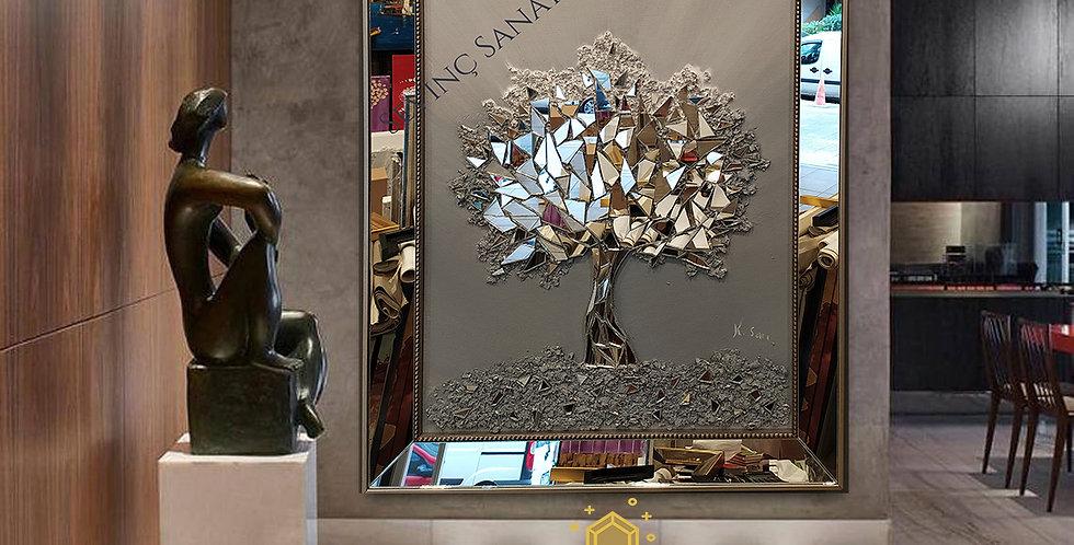 Ayna kabartmalı tablo antrasit geçiş