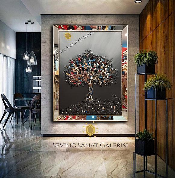 Ayna kabartmalı ağaç tablo siyah geçiş