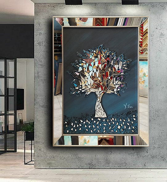 Ayna kabartmalı tablo siyah mavi geçiş