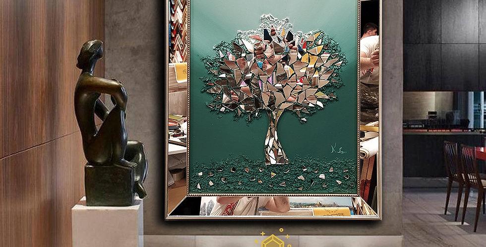 Ayna kabartmalı tablo koyu yeşil  geçiş