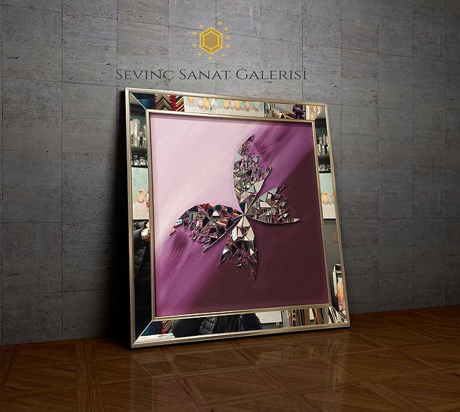 Ayna kabartmalı kelebek tablo mor geçiş