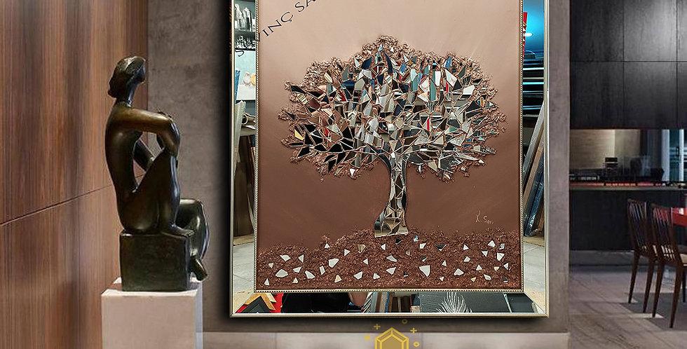 Ayna kabartmalı tablo kahve geçiş