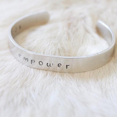 Empower Aluminum Cuff Bracelet Benefitting YWCA Austin